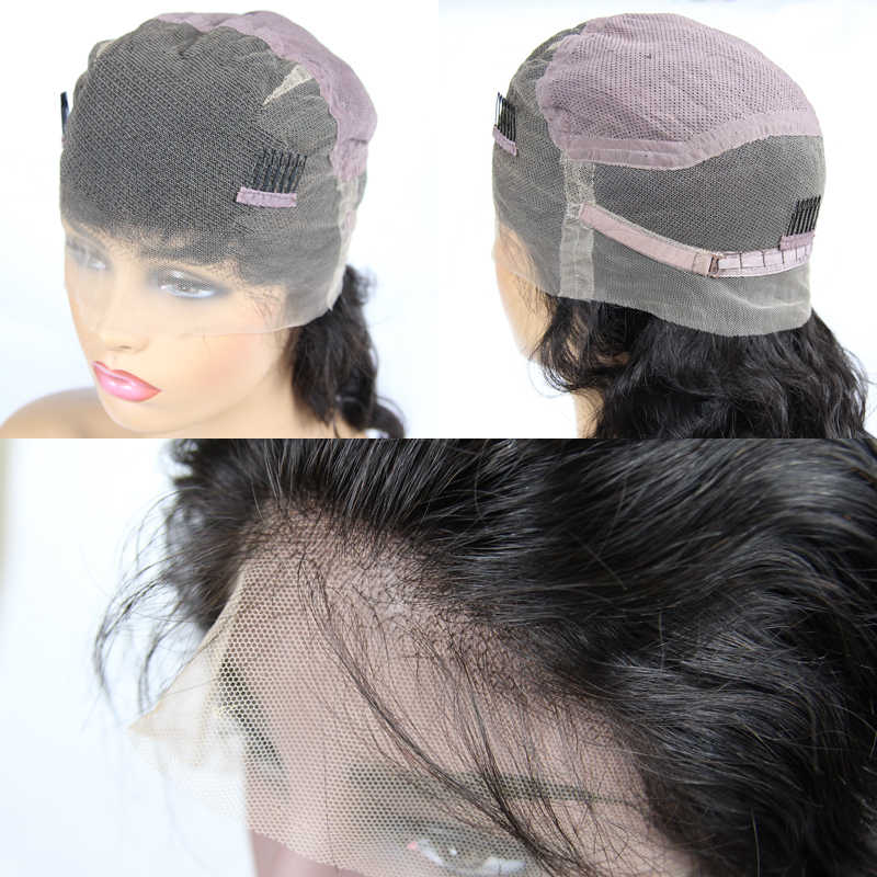 Indian Virgin Wigs Pre-Plucked Hairline Transparent Lace Full Lace Wigs With Baby Hair 150% 180% 200% Density Loose Wave Natural