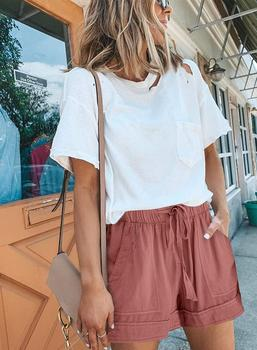 Women Summer Stylish Loose Casual Shorts Classic Solid Color Drawstring Elastic Waist Pockets Retro Cute Comfy Streetwear