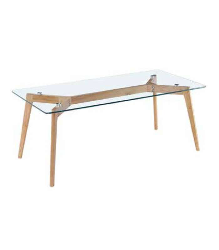 Center Table In Glass And Wooden Legs Model Alba