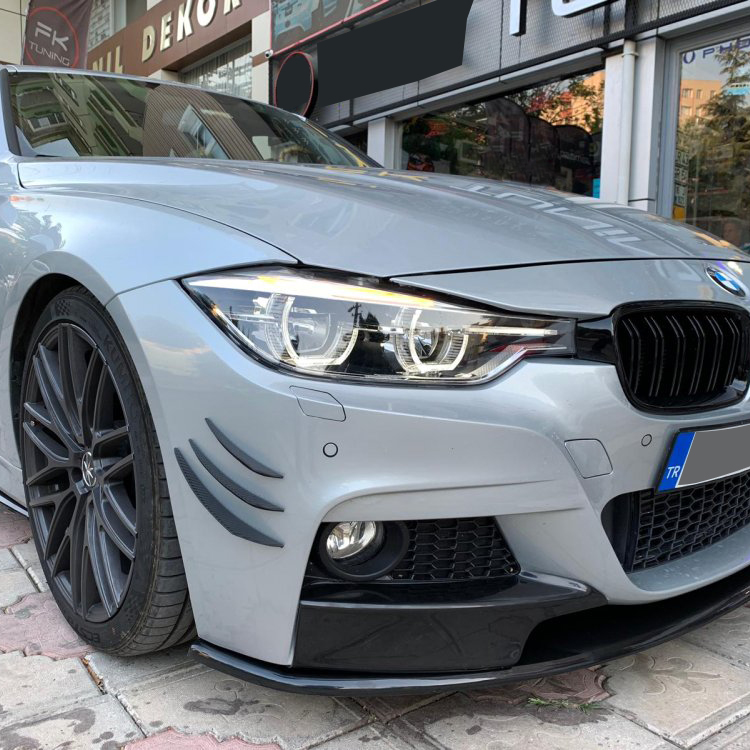 Front Bumper Side Canards Splitters Fin Spoiler Trunk Stickers Carbon View for BMW E90 E92 E93 F30 F32 F36 F10 G30 F06 F15 6pcs enlarge