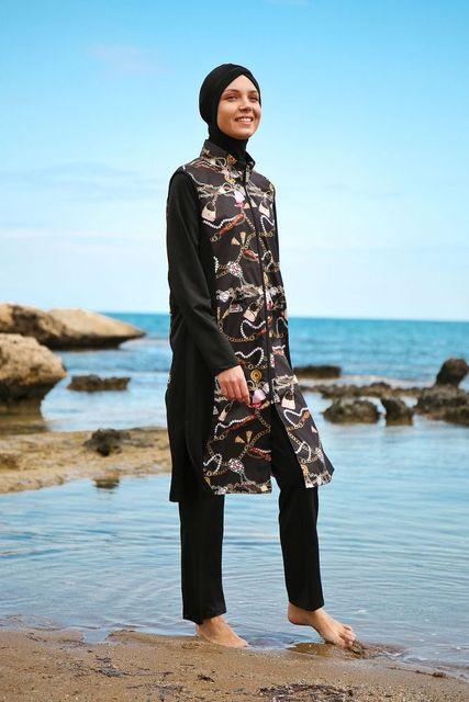MARINA Burkini hidżab strój kąpielowy Muslimah stroje kąpielowe strój kąpielowy 1984 #8211 Siya tanie tanio TR (pochodzenie)