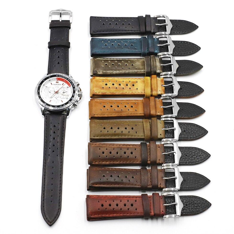 20mm 22mm 24mm Leder Uhr Strap Bands Schwarz Blau Braun Multi Farben Hohe Qualität herren Uhr band