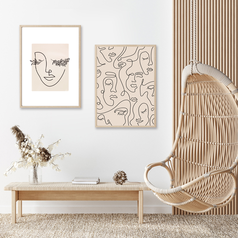 Abstract Woman Face Line Art Canvas Poster Home Decor
