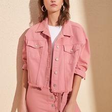 Trendyol Skirt Tip Tassels Crop Denim Jacket TWOSS20CE0230