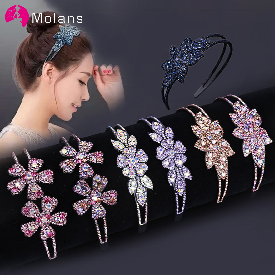 Molans Sparkly Floral Rhinestones Headbands Luxurious Colors Korean Flower Crystals Hairbands For Women Non-slip Wide Headbands