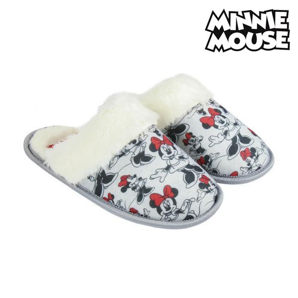 House Slippers Minnie Mouse Grey White