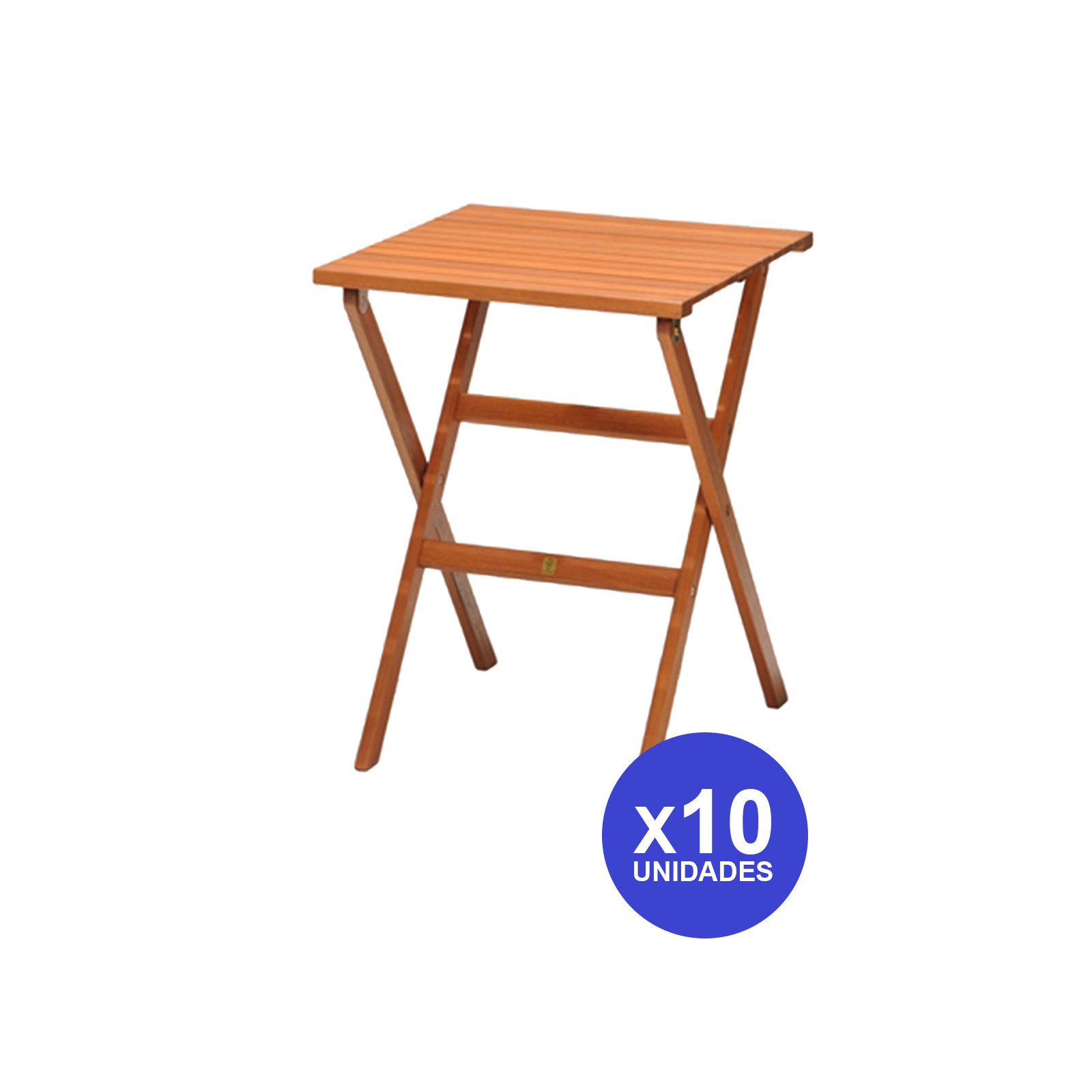 Kingsbury-10 Wooden Folding Tables Eucalyptus 56 Cm X 56 Cm-4999100100570L