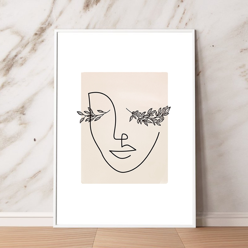 Abstract Woman Face Line Art Print