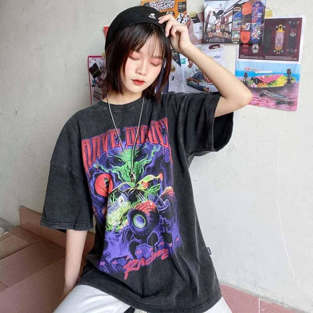 UNSETTLE Harajuku футболки негабаритные летние мужские/женские хип-хоп модные готические футболки с принтом мужские уличные футболки с коротким рукавом