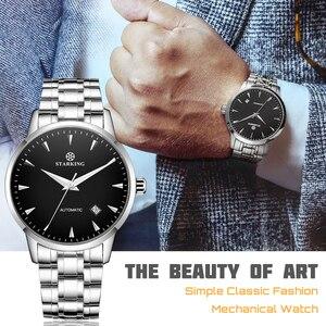 Image 5 - STARKING الميكانيكية ساعة الرجال ميوتا Movt الفولاذ المقاوم للصدأ ساعة اليد الياقوت التلقائي الذاتي الرياح الرجال ساعة Relogio 3ATM AM0171
