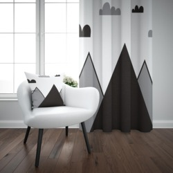Mais preto cinza branco montanha escandinavo nordic 3d impressão crianças do bebê painel da janela conjunto cortina combinar presente travesseiro caso