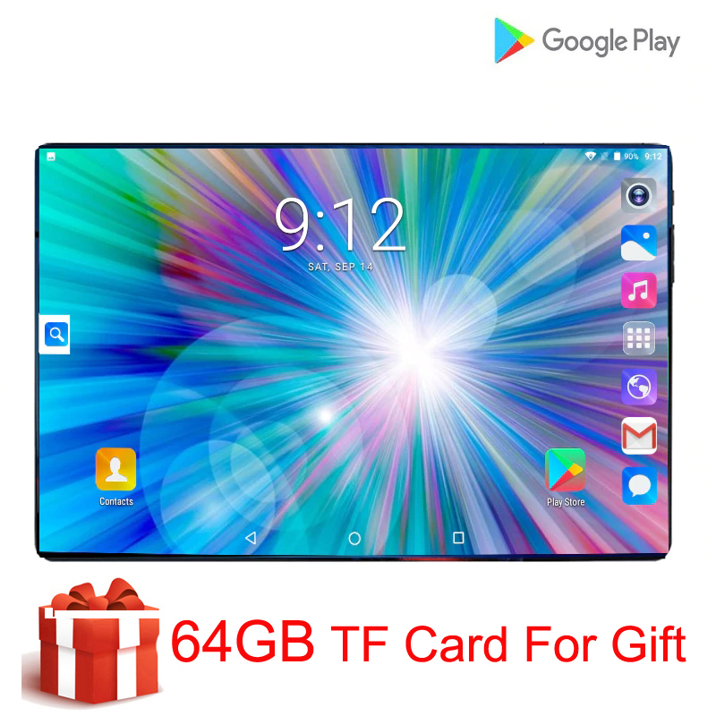 Super trempé 2.5D écran 10 pouces tablette Android 9.0 Octa Core 6GB RAM 128GB ROM 8 cœurs tablette + 64GB carte mémoire cadeau