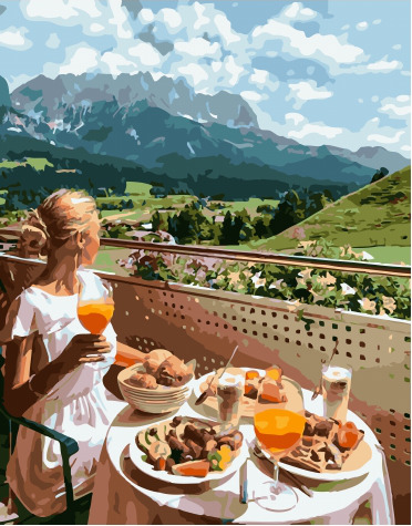 Painting By Numbers PK 51012 Appetizing Lunch In Nature 40*50