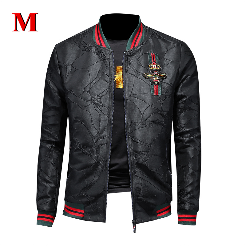 Stripe Jacket Embroidery Man Coat Classic Black Fashion High-Quality Badge MENNE Hot-Sale