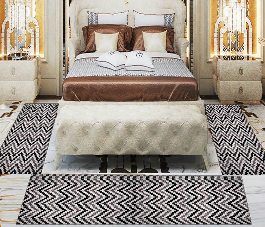 Else 3 Piece Grey Black Bias Lines Geometric 3d Print Non Slip Microfiber Washable Decor Bedroom Hallway Area Rug Carpet Set