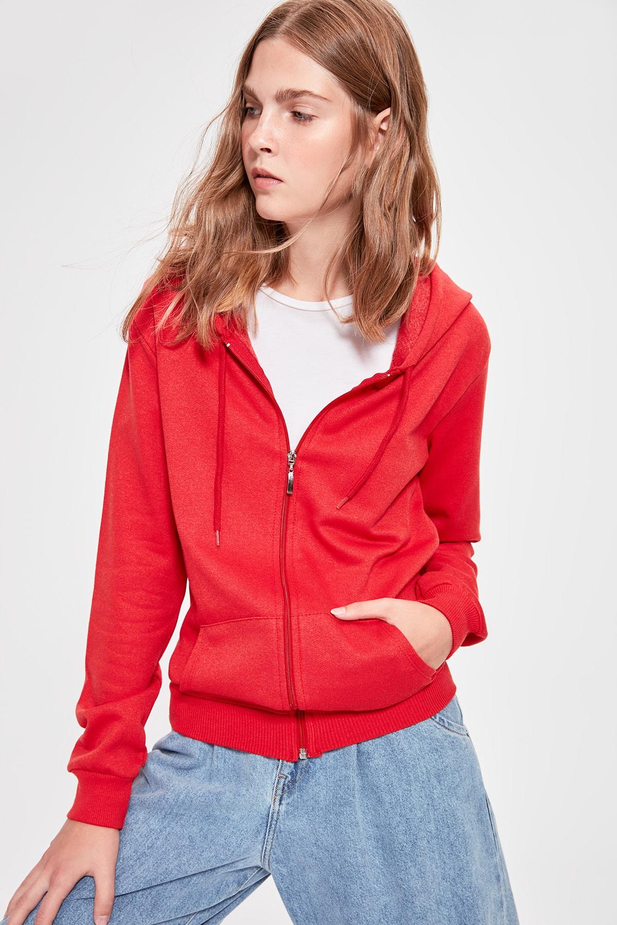 Trendyol Red Zipper Hooded Basic Knitted Sweatshirt TWOAW20SW0451