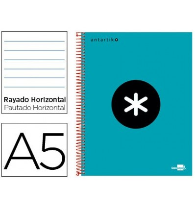 SPIRAL NOTEBOOK LEADERPAPER A5 MICRO ANTARTIK LINED TOP 120H 100 GR HORIZONTAL 5 BANDS 6 DRILLS TURQUOISE 3 Units