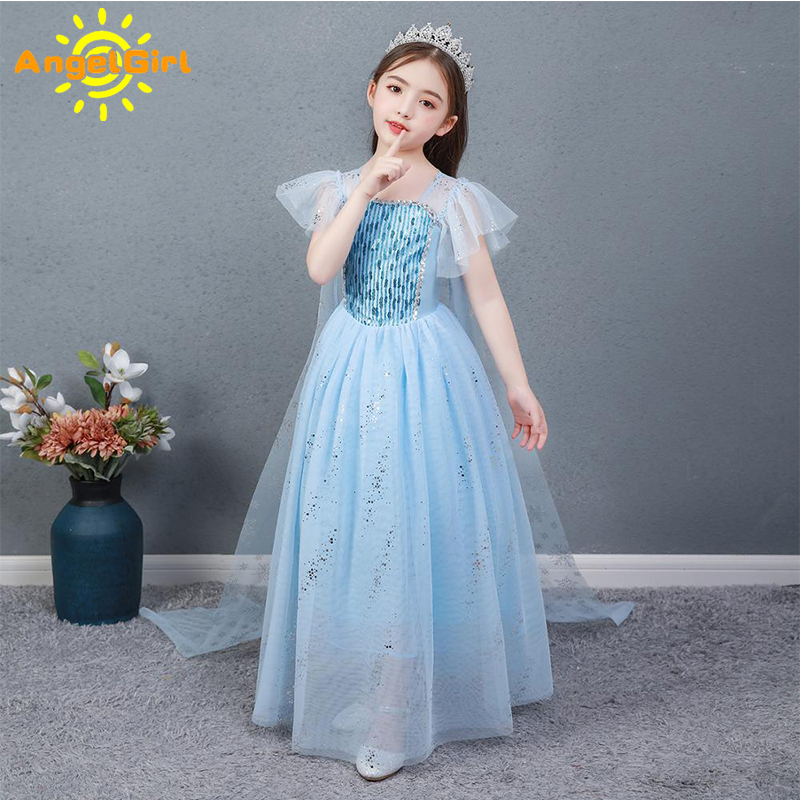 AngelGirl Elegant Girls Princess Dress Princess Theme Party Dresses Gown Xmas Cosplay Costumes for Birthday Halloween Chrismas 1
