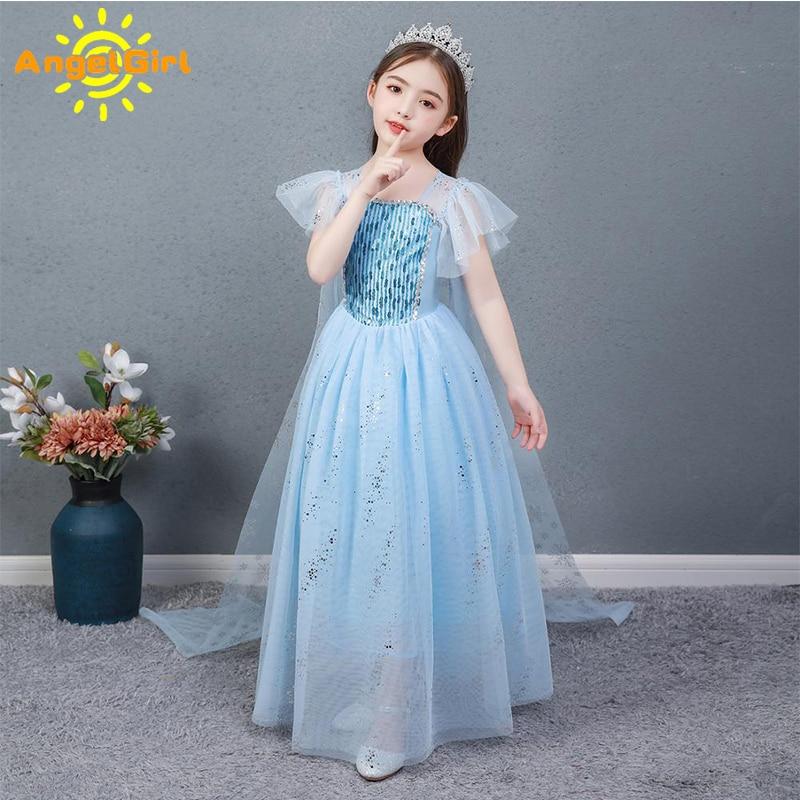 AngelGirl Elegant Girls Princess Dress Princess Theme Party Dresses Gown Xmas Cosplay Costumes for Birthday Halloween Chrismas 1