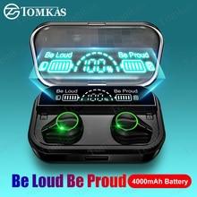 TWS אלחוטי Bluetooth אוזניות טביעת אצבע מגע סטריאו אוזניות ספורט Bluetooth אוזניות עם 4000mAh עמיד למים אוזניות