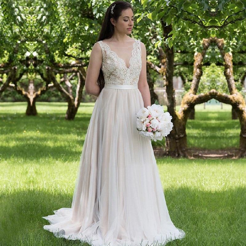Scoop Illusion Tulle Wedding Dress Vestido De Noiva Backless