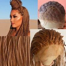 13*4 caja trenzado pelucas de encaje marrón hecho a mano trenzas de pelo sintético recto largo pelo trenzado pelucas con minimechones