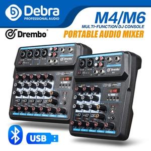Дебра M-4/6 переносной мини-миксер аудио DJ определения консоль с звуковая карта с интерфейсом USB, 48В Мощность для ПК Запись пение трансляция Ве...