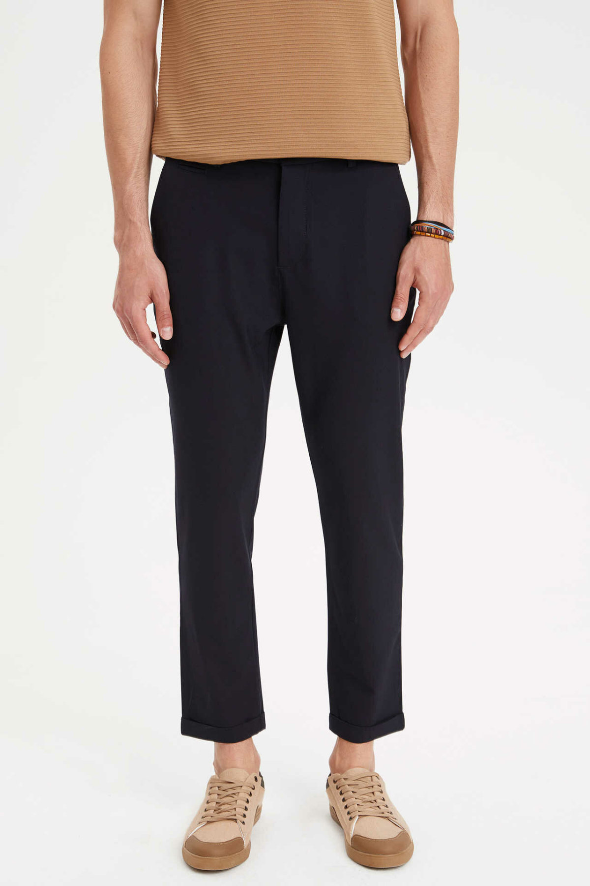 DeFacto Man Casual Black Pants Men Straight Black Long Pants Male Mid-waist Ninth Bottoms Trousers-L6773AZ19HS