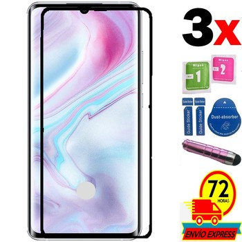 3X Screen savers tempered black glass full covers 100 LCD glass For For XIAOMI Mi NOTE 10 PEN pink