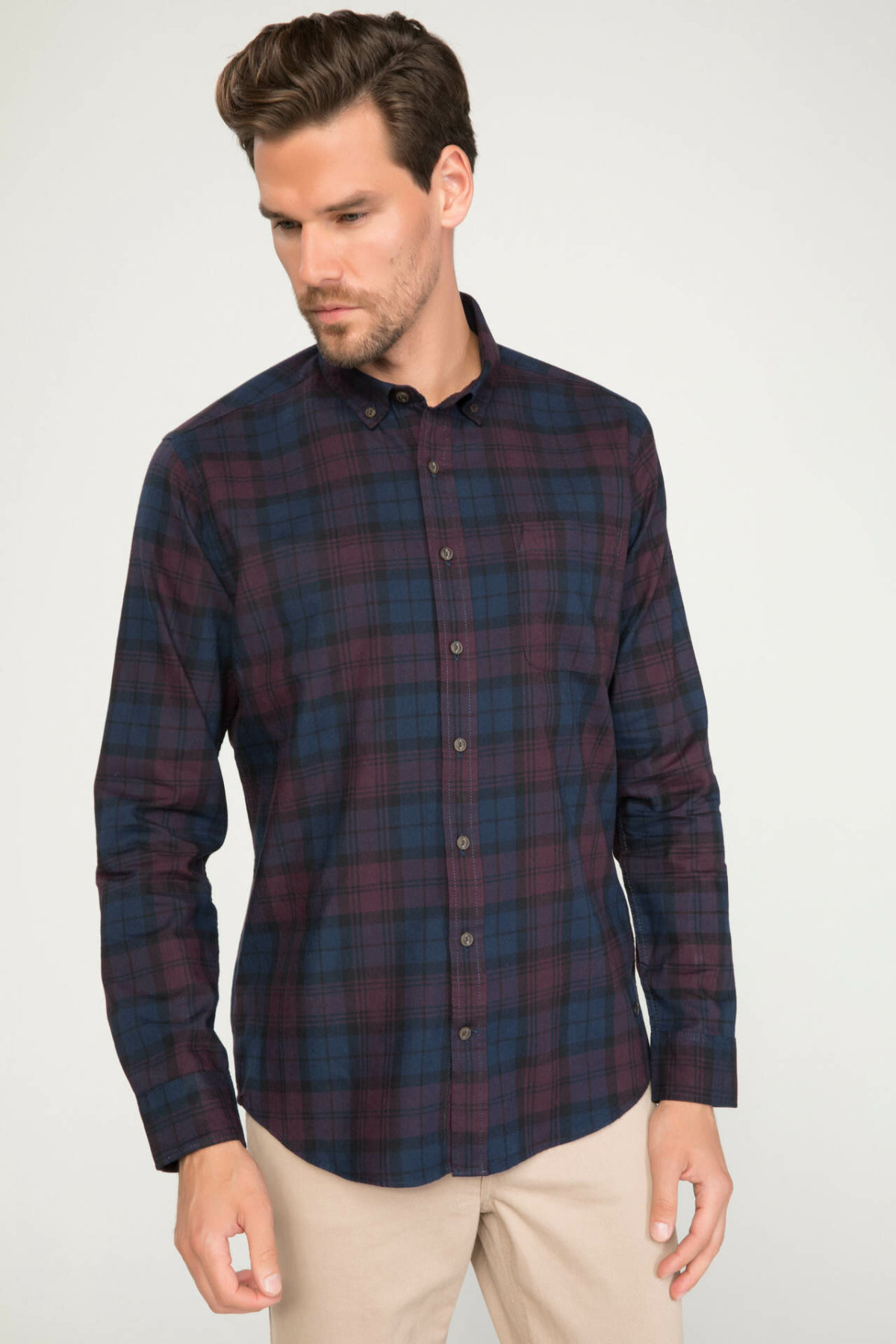DeFacto Man Dark Color Long Sleeve Shirt Men Casual Plaid Turn-down Collar Shirt Male Top Cloth-J1417AZ18WN