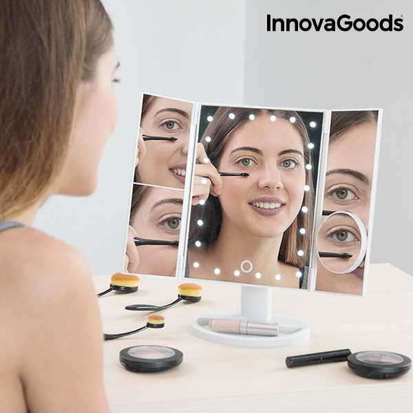 InnovaGoods 4-in-1 Magnifying Led Mirror Makeup Mirror Vanity Mirror Compact Mirror Mirror Light Makeup Mirror With Led Light