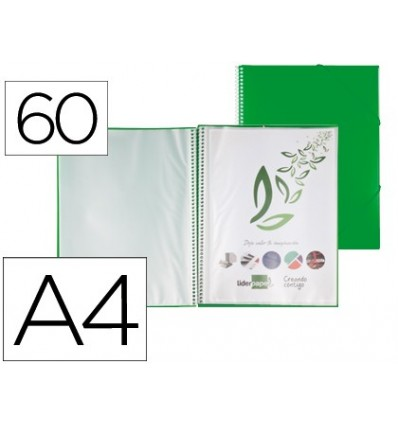WALLET LEADERPAPER SHOWCASE WITH SPIRAL 60 CASES POLYPROPYLENE DIN A4 GREEN
