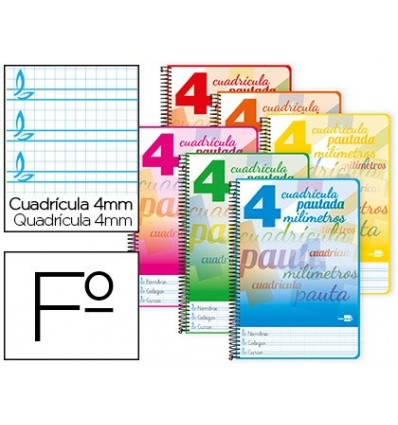 SPIRAL NOTEBOOK LIDERPAPEL FOLIO PAUTAGUIA HARDCOVER 80H 80 GR TABLE PAUTADO 4MMCON MARGIN COLORS ASSORTED 5 Units