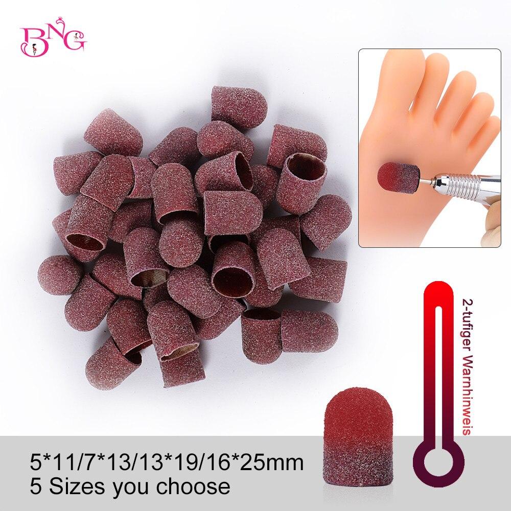 BNG 5PCS Grit 80 Temperature Change Sanding Caps Sanding Block Caps Mandrel Nail Art For Pedicure Electric Nail Drill Foot Care