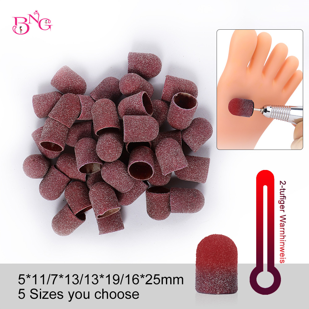 BNG Temperature Change Sanding Caps Grit 80 Sanding Block Caps With Mandrel Nail Art For Pedicure Electric Nail Drill Foot Care