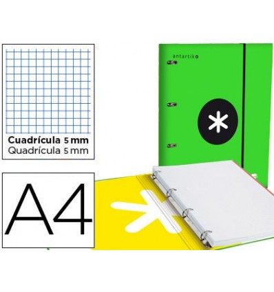 WALLET WITH REPLACEMENT LEADERPAPER ANTARTIK A4 TABLE 5 MM LINED 4 RINGS 25MM GREEN COLOR