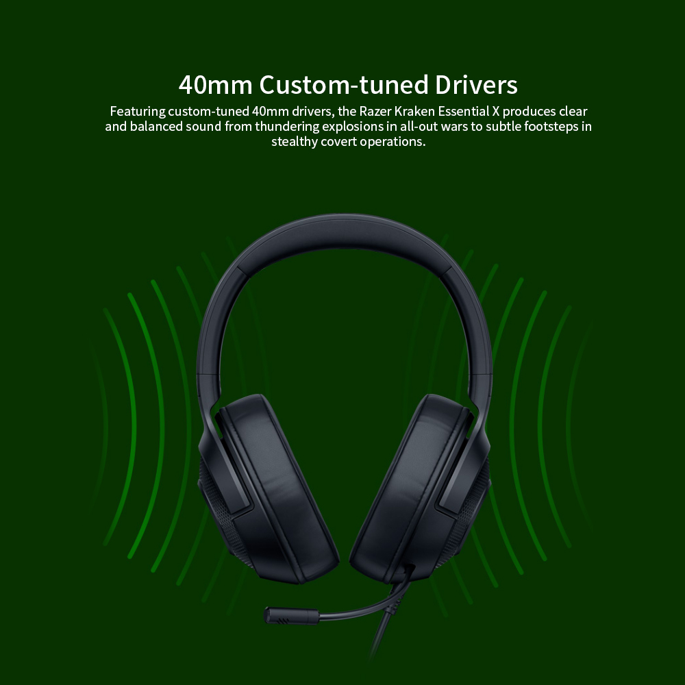 Razer Kraken X Ultralight Headphone Noise Over-Ear wired Gaming Headset Analog 3.5 mm jack 7.1 Surround Sound with Mic, Xbox,PS4 3