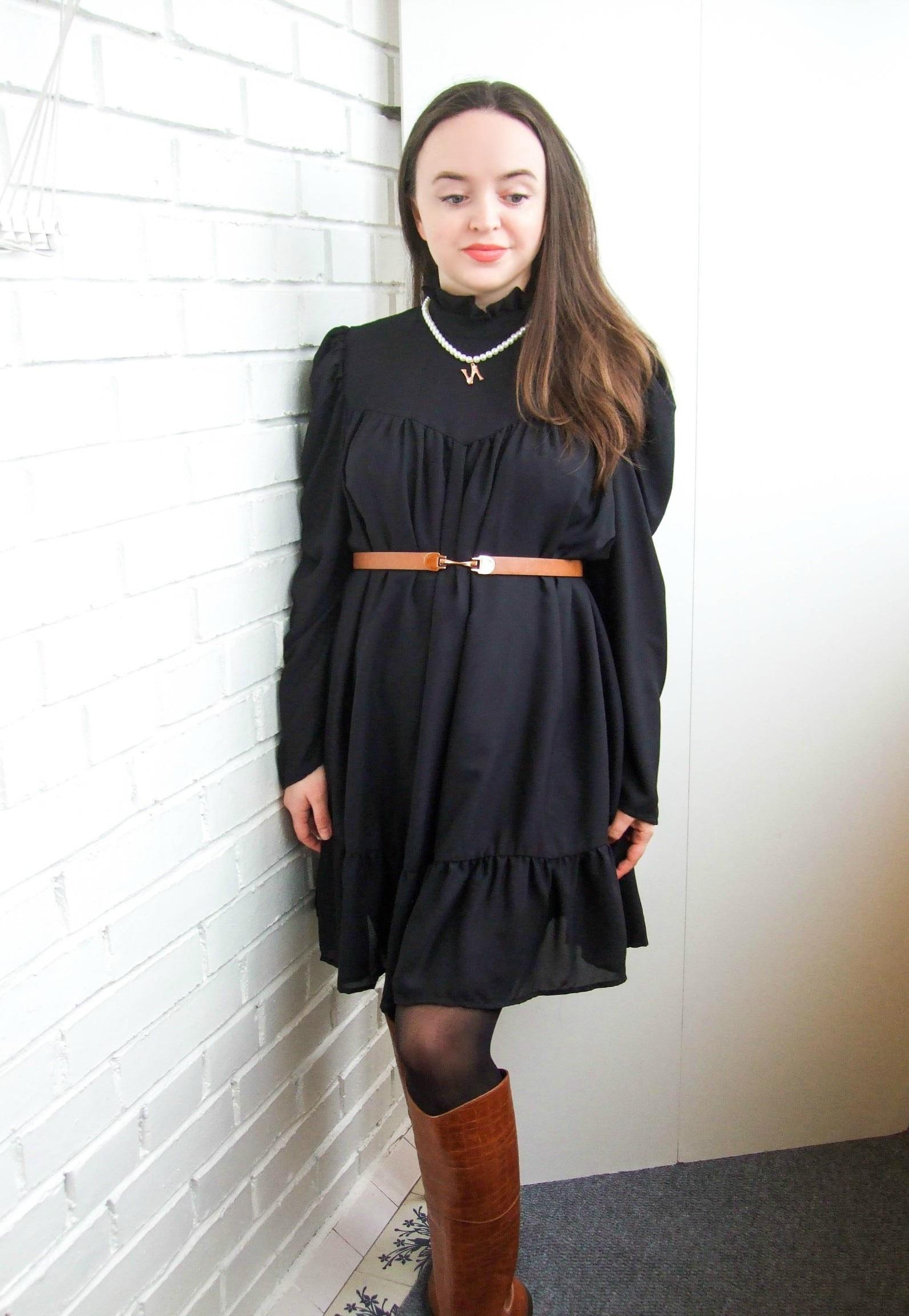 Hot 2019 autumn new fashion women's temperament commuter puff sleeve small high collar natural A word knee Chiffon dress reviews №10 342835
