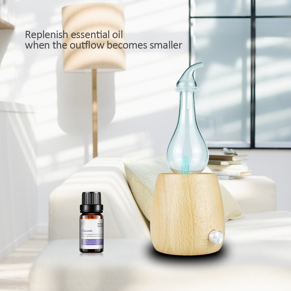 Waterless Essential Oil Diffuser Wood Glass Aroma Nebulizer For Essential Oils For Room Home Bedroom Office