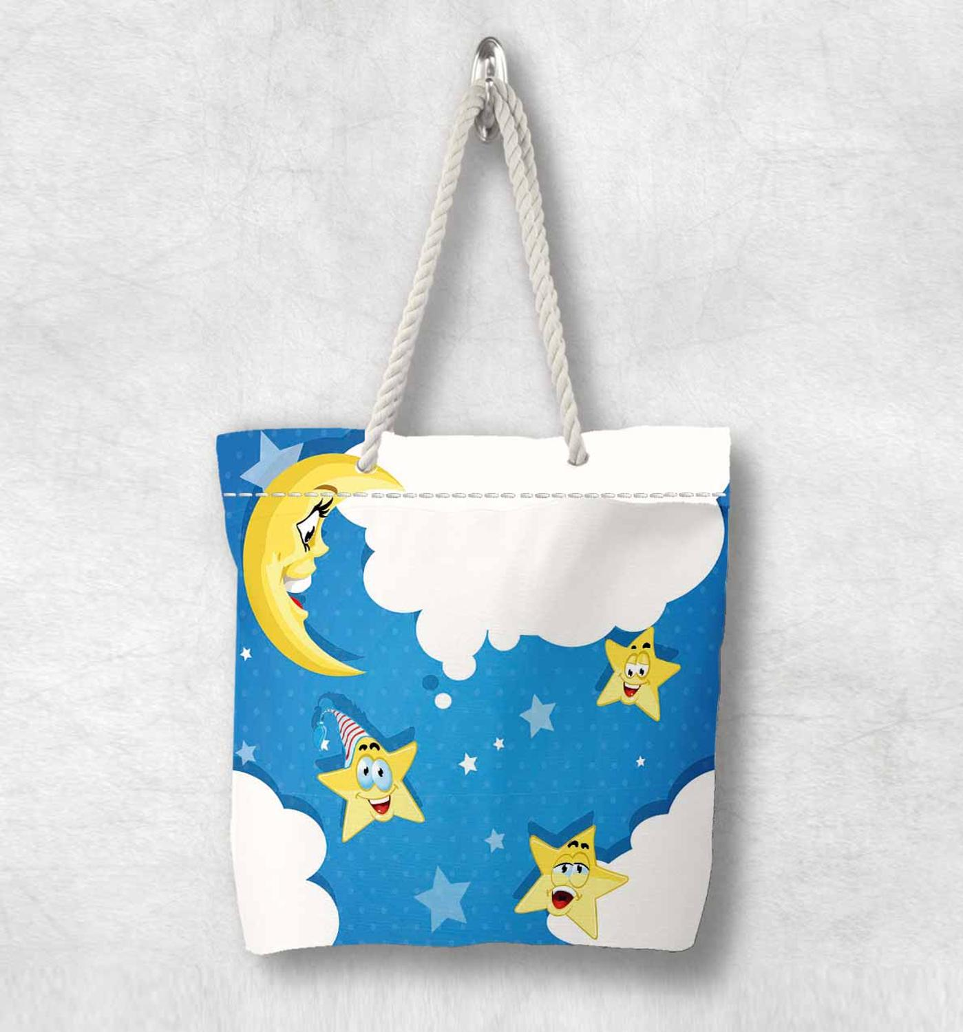 Else Blue Sky White Clouds Yellow Stars Moon Fashion White Rope Handle Canvas Bag  Cartoon Print Zippered Tote Bag Shoulder Bag
