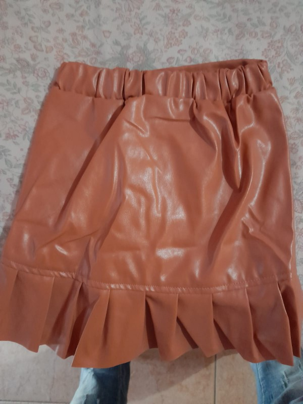 Girl skirts kids Pu leather good quality skirts spring autumn new ruffles princess skirts straight children clothes 6M-5Y photo review