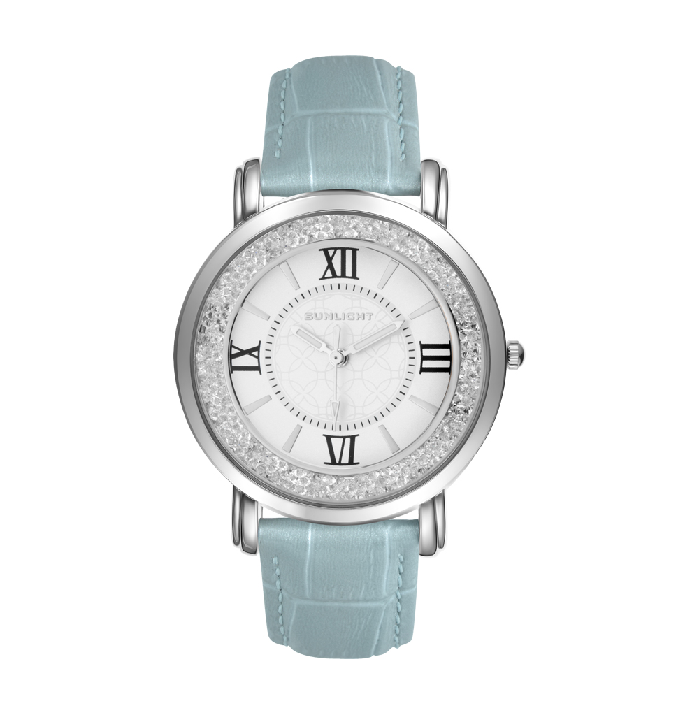 Women's Watch With Crystals On The Leather Belt Sunlight