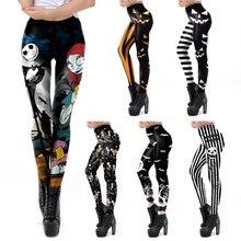 Vip moda halloween leggings feminino o pesadelo antes do natal impresso treino leggins sexy elástico legins calças de fitness