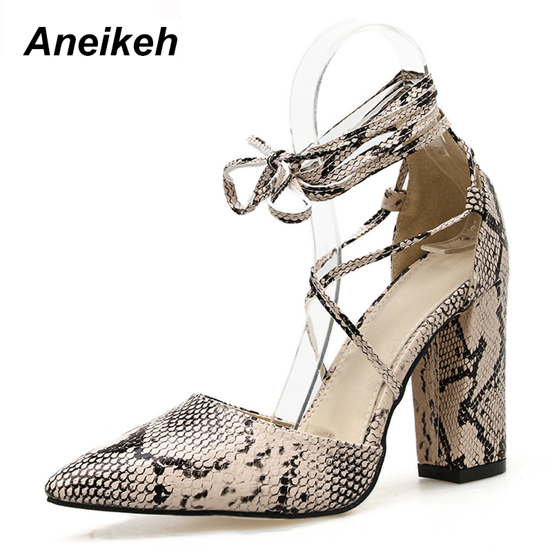 Aneikeh Fashion 2020 <font><b>Sexy</b></font> Serpentine Gladiator <font><b>Shoes</b></font> Women Pumps Pointed Toe Square Heel High Heel <font><b>Shoe</b></font> Dance Dress <font><b>Size</b></font> 35-40 image