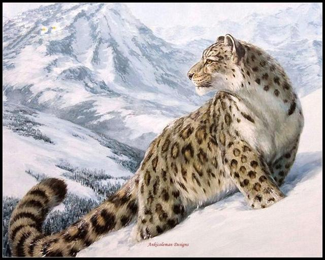 Leopard in the Snow   Counted Cross Stitch Kits   DIY Handmade Needlework for Embroidery 14 ct Cross Stitch Sets DMC Color