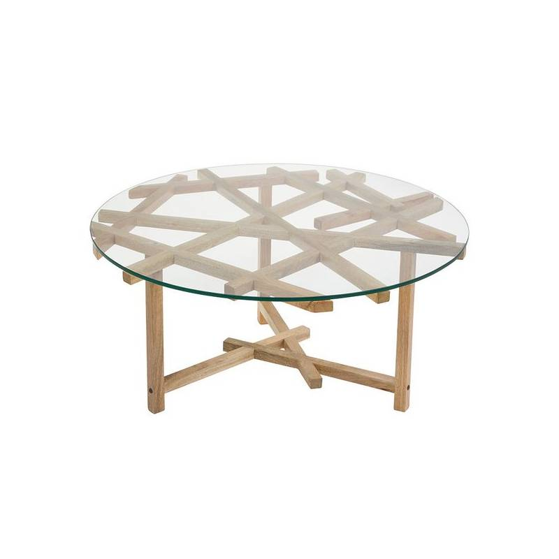 Coffee Table (90x90x45 Cm) Crystal Wooden Handle