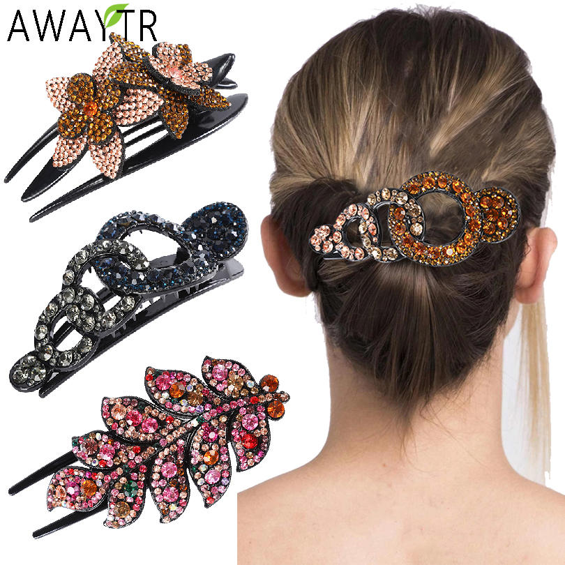 Rhinestone Hair Hair-Accessories Imitation-Barrettes Crystal Wome Retro Fashion Girl