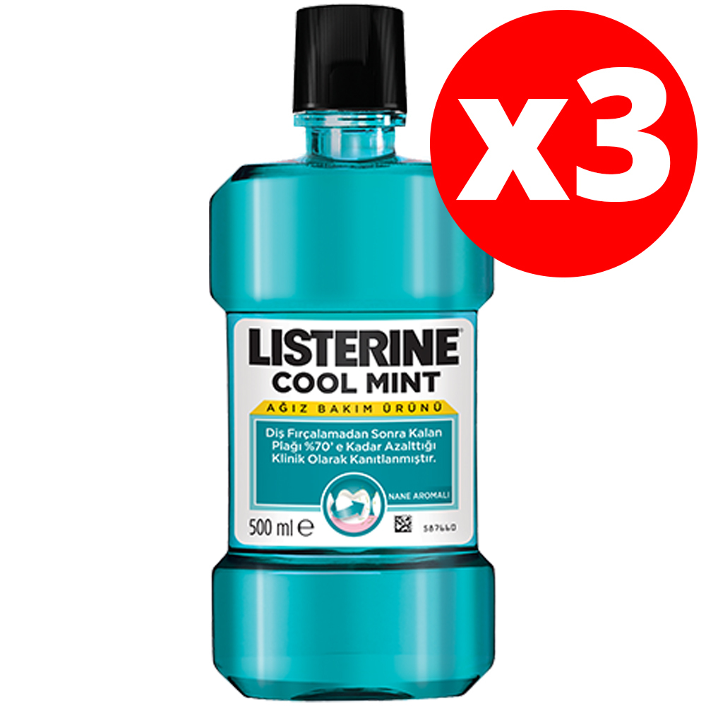 Mouthwash Listerine Cool Mint (500 Ml) - Daily Oral Care Product That Fights Plaque And Refreshes Your Breath