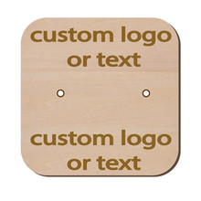 Personalised Wood earring holder card with logo text| cusotm engraved earring display card tags| jewelry display packaging cards