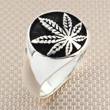 925 Stainless Steel Silver Marijuana Leaf Clover Mens Ring Signet Tree Large Rings for Men Handmade Made in Turkey, Gift for him